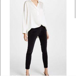 Frame Velveteen high waist ankle skinny black pant